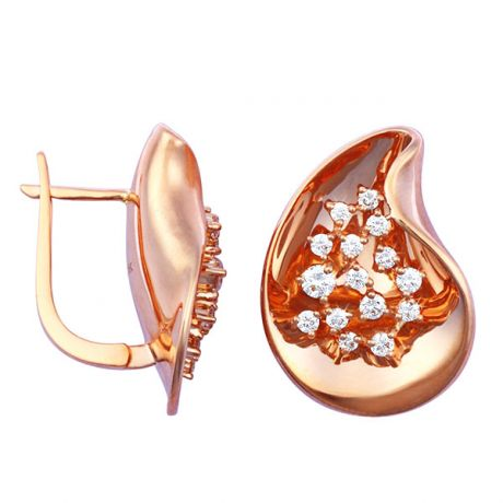 Boucles d'oreilles or rose - Diamants fixés en suspension 0.77ct