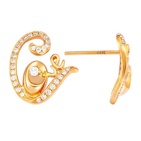 Boucles d'oreilles pendants or jaune et diamants - Collection LOVE