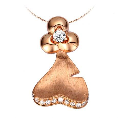 Ciondolo - Oro rosa 2.70gr - Diamanti 0.200ct