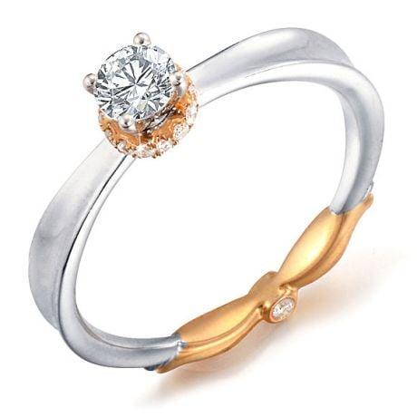 Bague Solitaire Monture 2 Ors - Diamants 0.39ct avec Couronne