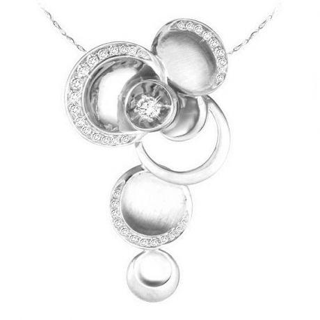 Ciondolo - Oro bianco 7.11gr - Diamanti 0.339ct