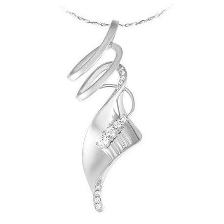 Pendentif or blanc - Émanation du souffle du vent - Diamants 0.14ct
