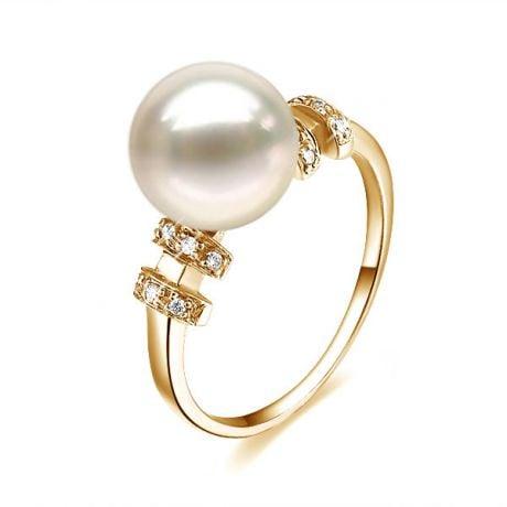 Bague moderne femme en or jaune - Perle eau douce blanche - Diamants