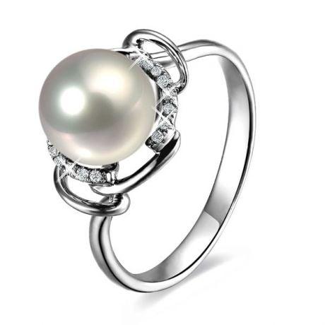 Anello Assos - Oro Bianco, Perla d'Acqua Dolce