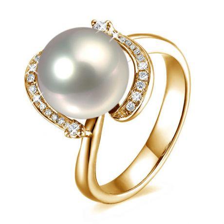 Bague voluptueuse or jaune et perle de culture blanche - Diamant pavé