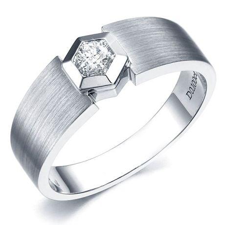 Anello per Uomo Oro bianco & Diamante solitario. Motivo esagonale | Capitaine