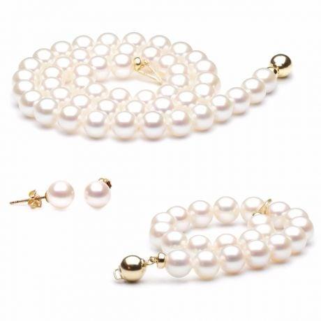 Parure Bijoux Mariage. Collier, Bracelet, Boucles Oreilles. Or jaune