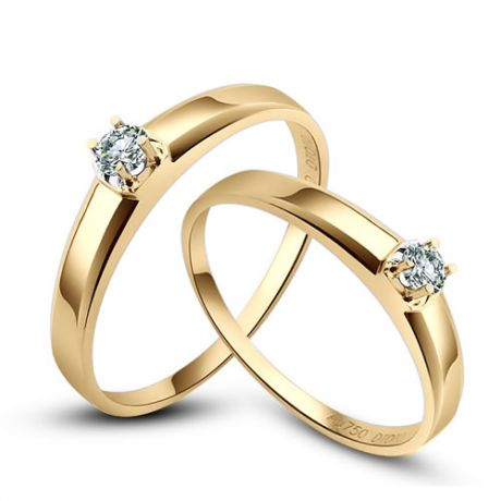 Alliances classique Couple. Solitaires Or jaune. Diamants