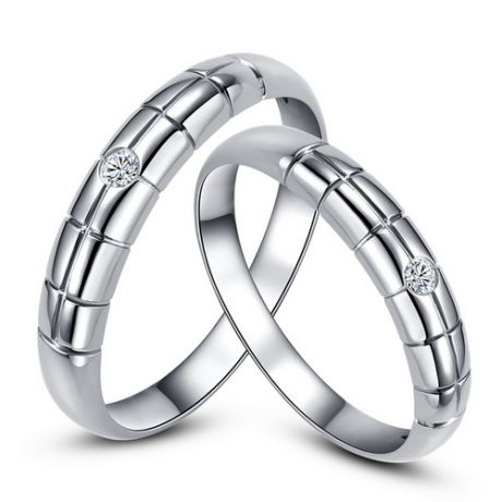 Alliances duo mariage - Quadrillage - Or blanc 750/1000, diamants