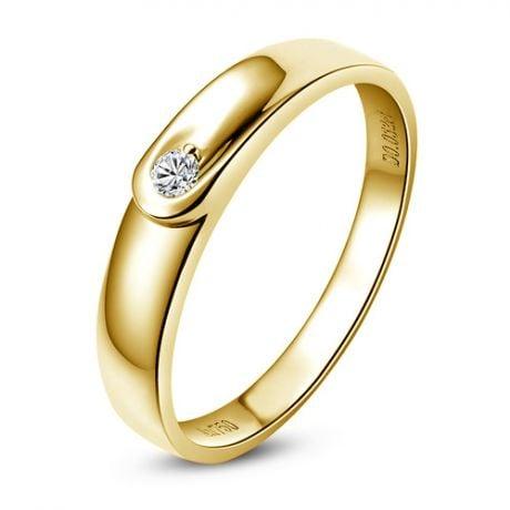 Fede Nuziale Megan da Donna - Anello in Oro Giallo e Diamante