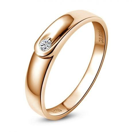 Fede Nuziale Brinwen da Donna - Anello in Oro Rosa e Diamante