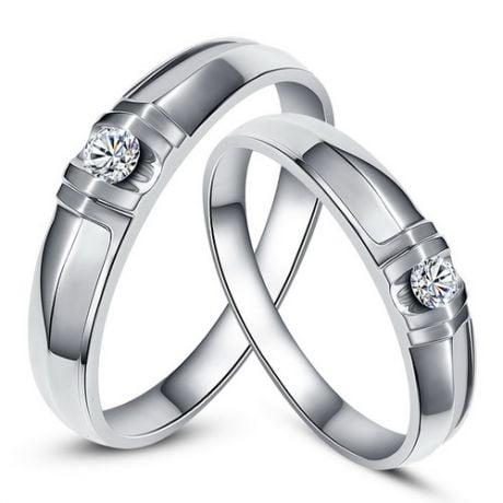 Alliances solitaires sophistiqués. Alliances duo. Or blanc, Diamants   Constance & Schubert