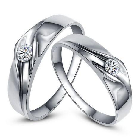 Alliances de fiançaille - Alliances Duo d'or blanc - Diamants