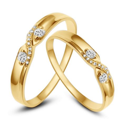 Alliances mariage diamants - En or jaune - Pour homme et femme