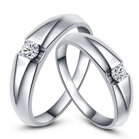 Alliances solitaires or blanc - Bagues alliances diamants - Couple