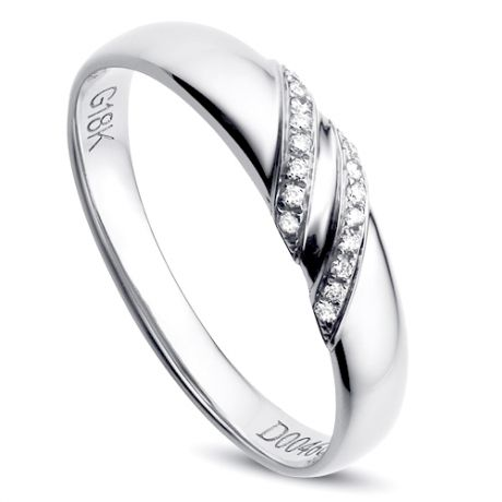 Alliance de Mariage Femme Inès - Or Blanc & Diamants | Gemperles