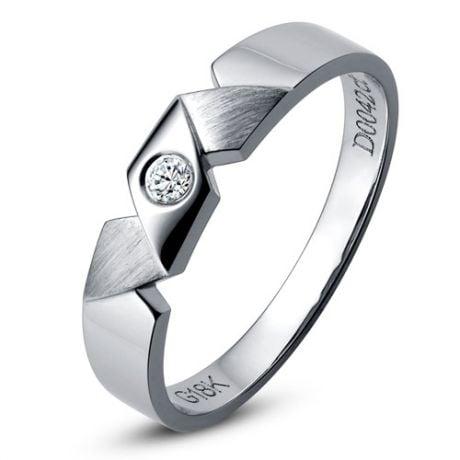Alliance Homme moderne. Style géométrique. Or blanc, diamants