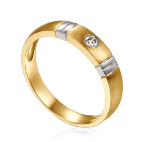 Fede donna Oro giallo & bianco. Fede con diamante | Garbo