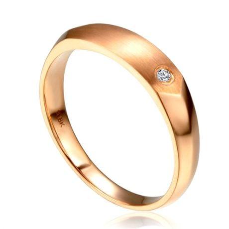 Alliance homme taillée en oblique - Or rose 750/1000, Diamant   Gabriel