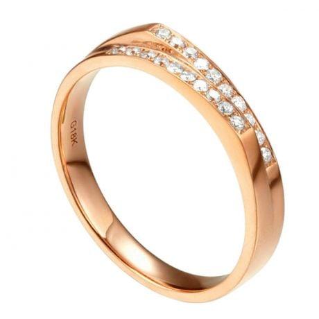 Alliance mariage 2 anneaux en 1. Femme moderne Or rose
