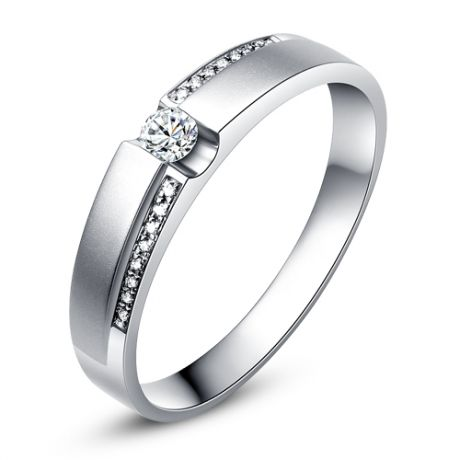 Alliance solitaire or blanc 750/1000 - Bague Femme diamants
