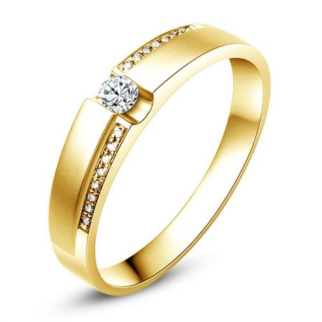 Alliance solitaire or jaune 750/1000 - Bague Femme diamants | Edna