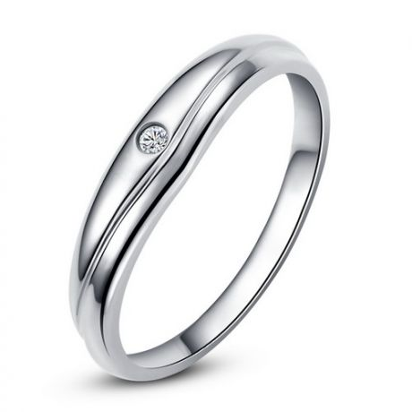 Fede Nuziale Gildas per Uomo - Oro Bianco e Diamante Solitario