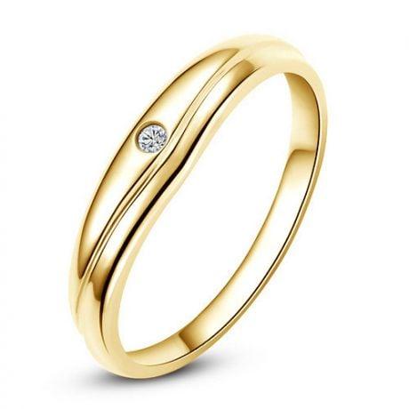 Fede Nuziale Brendan per Uomo - Oro Giallo e Diamante Solitario