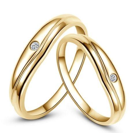 Fedi Nuziali Corentine & Brendan - Oro Giallo e Diamante