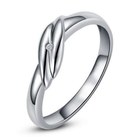 Fede Nuziale per Donna Joyce - Oro Bianco e Diamante Solitario