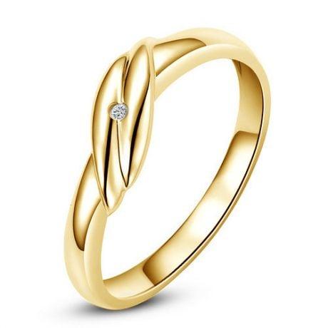 Fede Nuziale per Donna Merry - Oro Giallo e Diamante Solitario