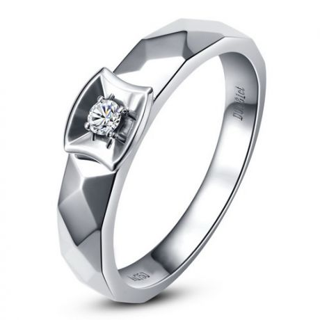 Alliance bague facettée - Alliance diamant Femme - Or blanc | Correspondance