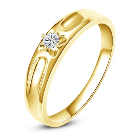 Fede Nuziale Carenn per Donna - Oro Giallo e Diamante Solitario