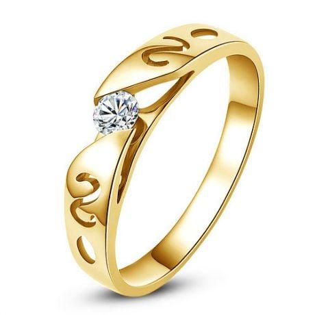 Mon alliance de mariage - Alliance originale or jaune, diamant - Homme