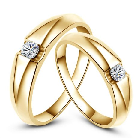 Alliances solitaires or jaune - Bagues alliances diamants - Couple
