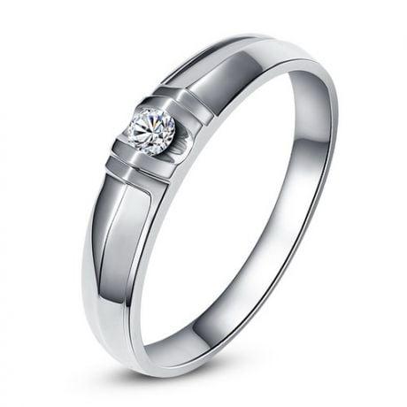 Alliance solitaire sophistiqué. Alliance femme. Or blanc, Diamant | Constance