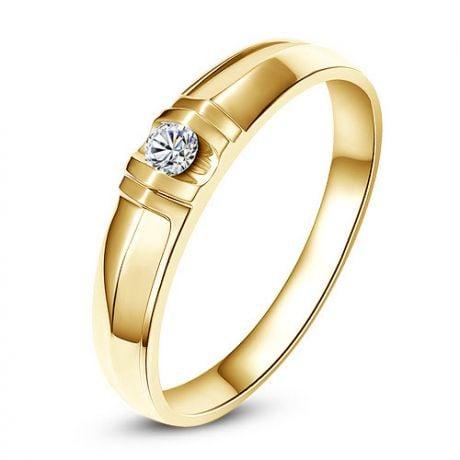 Alliance solitaire sophistiqué. Alliance femme. Or jaune, Diamant | Mathilde