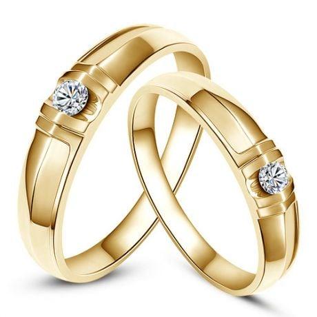 Alliances solitaires sophistiqués. Alliances duo. Or jaune, Diamants   Mathilde & Berlioz