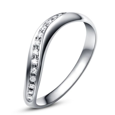 Alliance ondulée or blanc - Alliance femme avec diamants