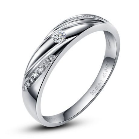 Alliance Étoile - Alliance or blanc diamants - Alliance Femme