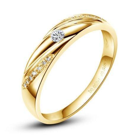 Alliance Étoile - Alliance or jaune diamants - Alliance Homme