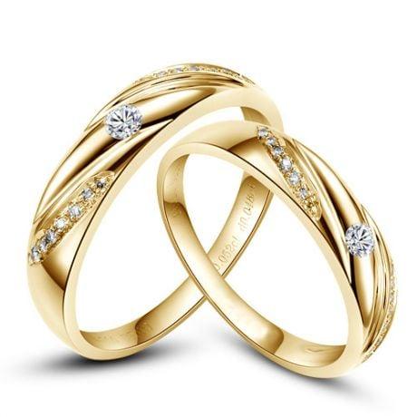 Alliances Étoiles - Alliances or jaune diamants - Alliances Duo