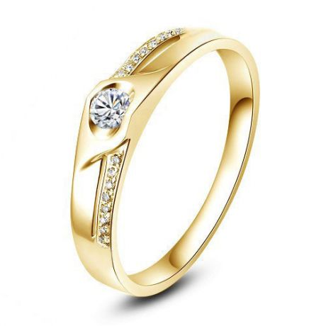 Alliance Femme solitaire diamants - Alliance moderne Or jaune 18cts