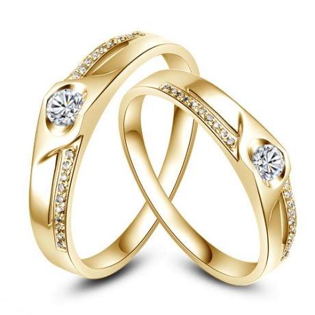Fedi Nuziali Douce Pensée & Alekseï - Fedine in Oro Giallo e Diamanti