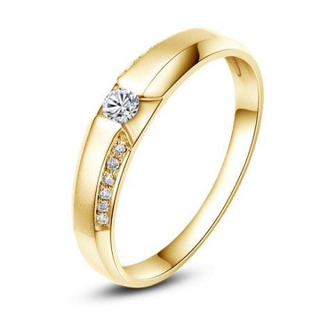 Achat alliance mariage - Alliance Solitaire Femme - Or jaune, diamants | Dietrich
