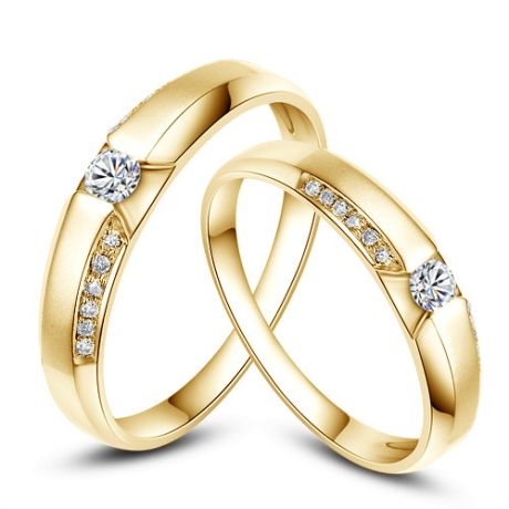 Achat alliances mariage - Alliances Solitaires Duo - Or jaune, diamants