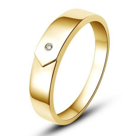 Alliance moderne et sobre pour Homme - Or jaune 750/1000  - Diamant