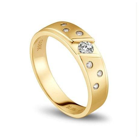 Bague alliance constellation diamantée - En or jaune 18cts - Femme | Yasmina