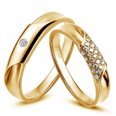Coppia di Fedi Nuziali Lucile & Fraser - Fedine Oro Giallo & Diamanti