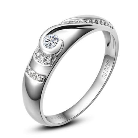 Fede Donna solitario diamanti. Anello moderno in platino | Gelo
